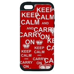 Keep Calm And Carry On Apple iPhone 5 Hardshell Case (PC+Silicone)