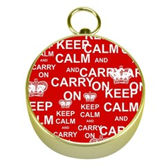 Keep Calm And Carry On Gold Compasses