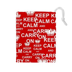 Keep Calm And Carry On Drawstring Pouches (large)