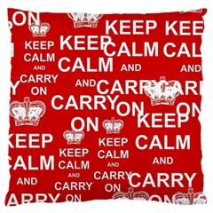Keep Calm And Carry On Large Flano Cushion Case (two Sides)