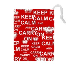 Keep Calm And Carry On Drawstring Pouches (Extra Large)