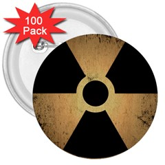Radioactive Warning Signs Hazard 3  Buttons (100 pack)