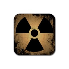 Radioactive Warning Signs Hazard Rubber Square Coaster (4 pack)