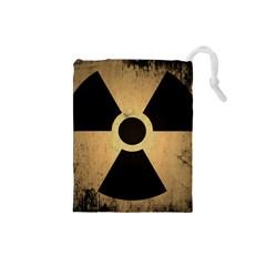 Radioactive Warning Signs Hazard Drawstring Pouches (small)