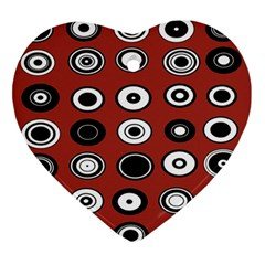 Circles Red Black White Ornament (Heart)