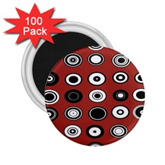 Circles Red Black White 2 25  Magnets (100 Pack)