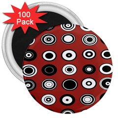Circles Red Black White 3  Magnets (100 pack)