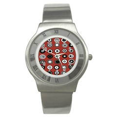 Circles Red Black White Stainless Steel Watch