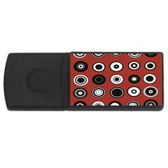 Circles Red Black White USB Flash Drive Rectangular (4 GB)