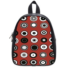 Circles Red Black White School Bags (small)