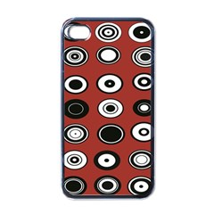 Circles Red Black White Apple iPhone 4 Case (Black)