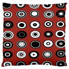 Circles Red Black White Large Cushion Case (Two Sides)