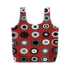 Circles Red Black White Full Print Recycle Bags (M)