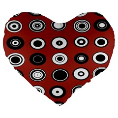 Circles Red Black White Large 19  Premium Flano Heart Shape Cushions