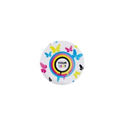 Colorful Butterfly Rainbow Circle Animals Fly Pink Yellow Black Blue Text 1  Mini Buttons