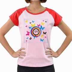 Colorful Butterfly Rainbow Circle Animals Fly Pink Yellow Black Blue Text Women s Cap Sleeve T-Shirt