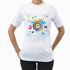 Colorful Butterfly Rainbow Circle Animals Fly Pink Yellow Black Blue Text Women s T Shirt (white) (two Sided)