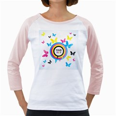Colorful Butterfly Rainbow Circle Animals Fly Pink Yellow Black Blue Text Girly Raglans