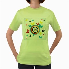 Colorful Butterfly Rainbow Circle Animals Fly Pink Yellow Black Blue Text Women s Green T-Shirt