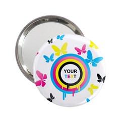 Colorful Butterfly Rainbow Circle Animals Fly Pink Yellow Black Blue Text 2.25  Handbag Mirrors