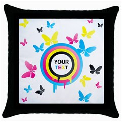 Colorful Butterfly Rainbow Circle Animals Fly Pink Yellow Black Blue Text Throw Pillow Case (Black)