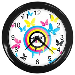 Colorful Butterfly Rainbow Circle Animals Fly Pink Yellow Black Blue Text Wall Clocks (Black)