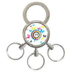 Colorful Butterfly Rainbow Circle Animals Fly Pink Yellow Black Blue Text 3-Ring Key Chains