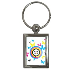 Colorful Butterfly Rainbow Circle Animals Fly Pink Yellow Black Blue Text Key Chains (rectangle)