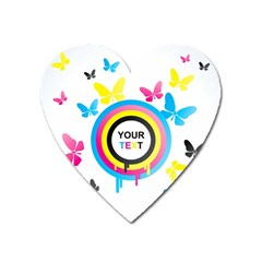 Colorful Butterfly Rainbow Circle Animals Fly Pink Yellow Black Blue Text Heart Magnet