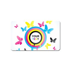 Colorful Butterfly Rainbow Circle Animals Fly Pink Yellow Black Blue Text Magnet (Name Card)