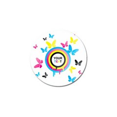 Colorful Butterfly Rainbow Circle Animals Fly Pink Yellow Black Blue Text Golf Ball Marker