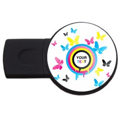 Colorful Butterfly Rainbow Circle Animals Fly Pink Yellow Black Blue Text USB Flash Drive Round (1 GB)