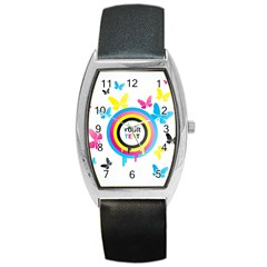 Colorful Butterfly Rainbow Circle Animals Fly Pink Yellow Black Blue Text Barrel Style Metal Watch