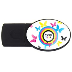 Colorful Butterfly Rainbow Circle Animals Fly Pink Yellow Black Blue Text Usb Flash Drive Oval (4 Gb)