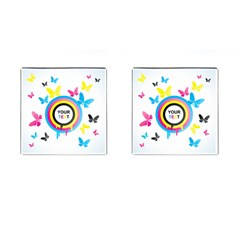 Colorful Butterfly Rainbow Circle Animals Fly Pink Yellow Black Blue Text Cufflinks (Square)