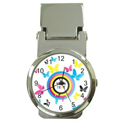 Colorful Butterfly Rainbow Circle Animals Fly Pink Yellow Black Blue Text Money Clip Watches