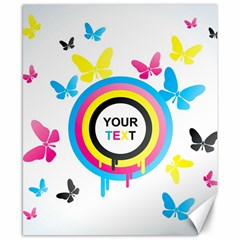 Colorful Butterfly Rainbow Circle Animals Fly Pink Yellow Black Blue Text Canvas 8  x 10