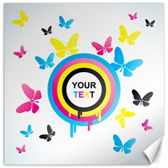 Colorful Butterfly Rainbow Circle Animals Fly Pink Yellow Black Blue Text Canvas 12  X 12