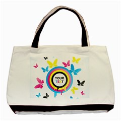 Colorful Butterfly Rainbow Circle Animals Fly Pink Yellow Black Blue Text Basic Tote Bag (Two Sides)