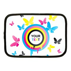 Colorful Butterfly Rainbow Circle Animals Fly Pink Yellow Black Blue Text Netbook Case (Medium)