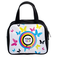 Colorful Butterfly Rainbow Circle Animals Fly Pink Yellow Black Blue Text Classic Handbags (2 Sides)