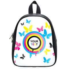 Colorful Butterfly Rainbow Circle Animals Fly Pink Yellow Black Blue Text School Bags (small)