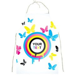 Colorful Butterfly Rainbow Circle Animals Fly Pink Yellow Black Blue Text Full Print Aprons