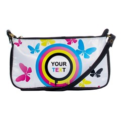 Colorful Butterfly Rainbow Circle Animals Fly Pink Yellow Black Blue Text Shoulder Clutch Bags
