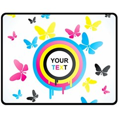 Colorful Butterfly Rainbow Circle Animals Fly Pink Yellow Black Blue Text Fleece Blanket (Medium)