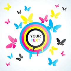Colorful Butterfly Rainbow Circle Animals Fly Pink Yellow Black Blue Text Magic Photo Cubes