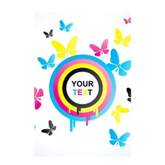 Colorful Butterfly Rainbow Circle Animals Fly Pink Yellow Black Blue Text Shower Curtain 48  x 72  (Small)