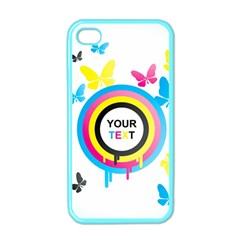 Colorful Butterfly Rainbow Circle Animals Fly Pink Yellow Black Blue Text Apple iPhone 4 Case (Color)
