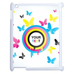 Colorful Butterfly Rainbow Circle Animals Fly Pink Yellow Black Blue Text Apple iPad 2 Case (White)