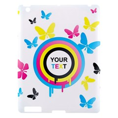 Colorful Butterfly Rainbow Circle Animals Fly Pink Yellow Black Blue Text Apple iPad 3/4 Hardshell Case